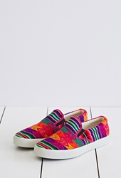 Forever 21 Inkkas Cotton Candy Slip Ons Red Multi