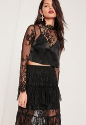 Missguided Lace Overlay High Neck Cami Top Black