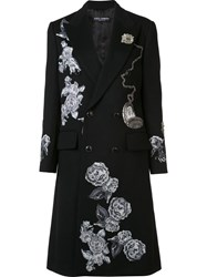 Dolce And Gabbana Embroidered Applique Roses Coat Black