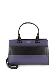 Halston Colorblock Leather Satchel Black Indigo