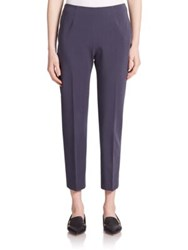 Peserico Cropped Stretch Cotton Pants Navy