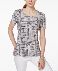 Jm Collection Short Sleeve Geo Print Top Only At Macy's