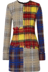 Acne Studios Ebele Patchwork Checked Wool Blend Mini Dress Yellow