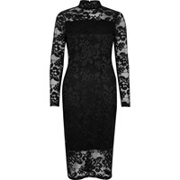 River Island Womens Black Lace Turtleneck Bodycon Dress