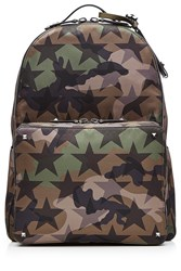 Valentino Camouflage Print Backpack With Leather Green