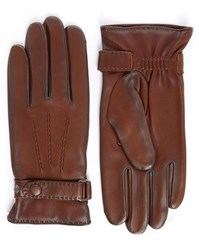 Agnelle Brown Pierre Patent Leather Touchscreen Gloves With Wool Lining