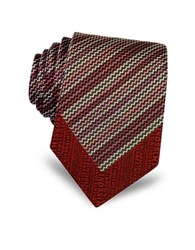 Missoni Micro Zig Zag Woven Silk Narrow Tie Red