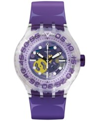 Swatch Unisex Swiss Surfing The Wave Purple Silicone Strap 44Mm Suuk106