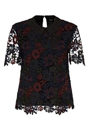 Hallhuber Lace Top With Pleated Collar Multi Coloured