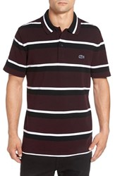 Lacoste Men's 'M.I.F.' Stripe Pique Polo Black Vendange White Black
