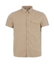 Realm And Empire Cotton Relaxed Fit Short Sleeve Shirt Stone