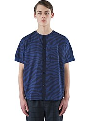 Oamc Short Sleeved Snap Front Shirt Blue