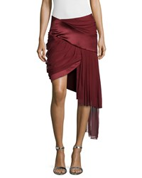 Prabal Gurung Draped Mini Skirt With Asymm Wine