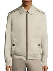 Brioni Leather Trim Long Sleeve Jacket Beige