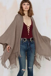 Nasty Gal Shawl It A Day Fringe Poncho Gray