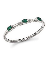 Judith Ripka Triple Stone Bangle With White Sapphire And Green Quartz Green Silver