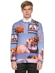 Frankie Morello Tv And War Printed Cotton Sweatshirt Blue Multi