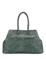 Liebeskind Crocodile Styled Leather Handbag Bottle Green