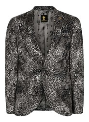 Topman Noose And Monkey Grey Leopard Print Faux Fur Blazer