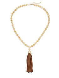 Saks Fifth Avenue Beaded Tassel Necklace Gold Brown