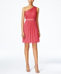 Adrianna Papell One Shoulder Embellished Dress French Coral