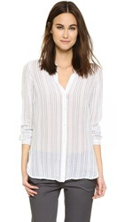 Vince Split Neck Button Up Blouse Off White Navy