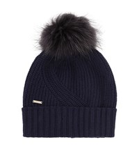 Woolrich Ribbed Fur Pom Pom Beanie Female Navy