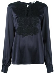 P.A.R.O.S.H. Embroidered Front Blouse Blue