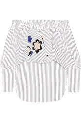 Tod's Off The Shoulder Leather Appliqued Cotton Poplin Top White