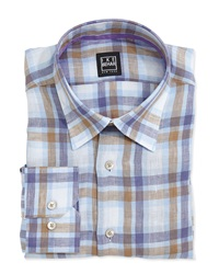 Ike Marty Plaid Linen Dress Shirt Brown Blue