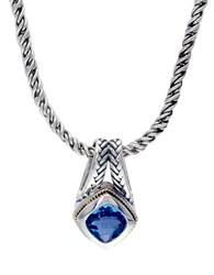 Effy Sterling Silver And 18K Yellow Gold Blue Topaz Pendant Necklace