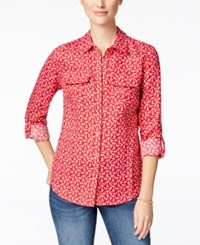 Charter Club Linen Anchor Print Shirt Only At Macy's New Red Amore Combo