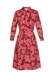 Oscar De La Renta Graphic Floral Print Stretch Cotton Shirtdress Pink Multi
