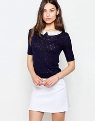 Yumi Dotty Jumper With Collar Detail Navy