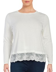Lord And Taylor Plus Lace Hem Tee Ivory