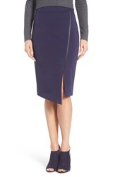 Halogenr Petite Women's Halogen Asymmetrical Zip Pencil Skirt Navy Peacoat