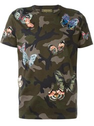 Valentino Butterfly Stitched T Shirt Green