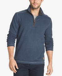 G.H. Bass And Co. Men's Big And Tall Zip Neck Fleece Sweater Bering Sea Heather