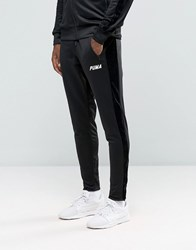 Puma Joggers With Velvet Trim In Tapered Fit Black