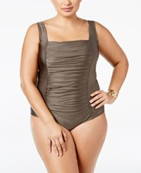 Calvin Klein Plus Size Ruched One Piece Swimsuit Women's Swimsuit Bronze