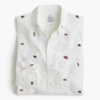 J.Crew Slim Lightweight Oxford Shirt With Embroidered Sea Life White