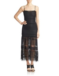 French Connection Fringe Fancy Strappy Midi Dress Black