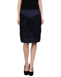 High Knee Length Skirts Dark Blue