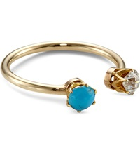 Annina Vogel 9Ct Yellow Gold Diamond And Turquoise Toi Et Moi Ring