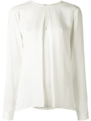 Michael Michael Kors Pleated Front Blouse Nude And Neutrals