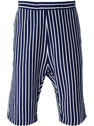 Barena Pinstriped Drop Crotch Knee Length Shorts Blue