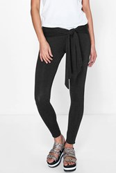 Boohoo Tie Waist Basic Leggings Black