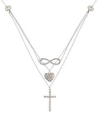 Sis By Simone I Smith Crystal Heart Infinity And Cross Layered Pendant Necklace In Platinum Over Sterling Silver