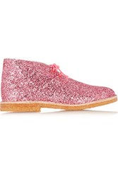 Sophia Webster Delilah Glittered Leather Desert Boots Pink