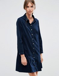 Asos Cord Dropped Waist Shirt Dress With Peplum Hem Navy Blue